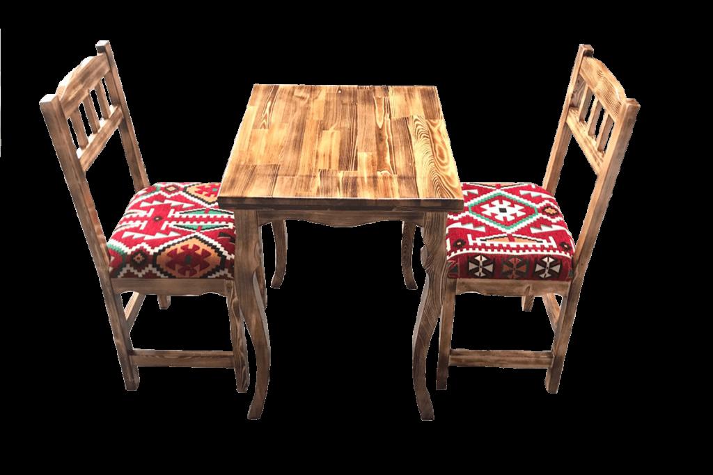 2 Kişilik Ahşap Masa Sandalye Takımı