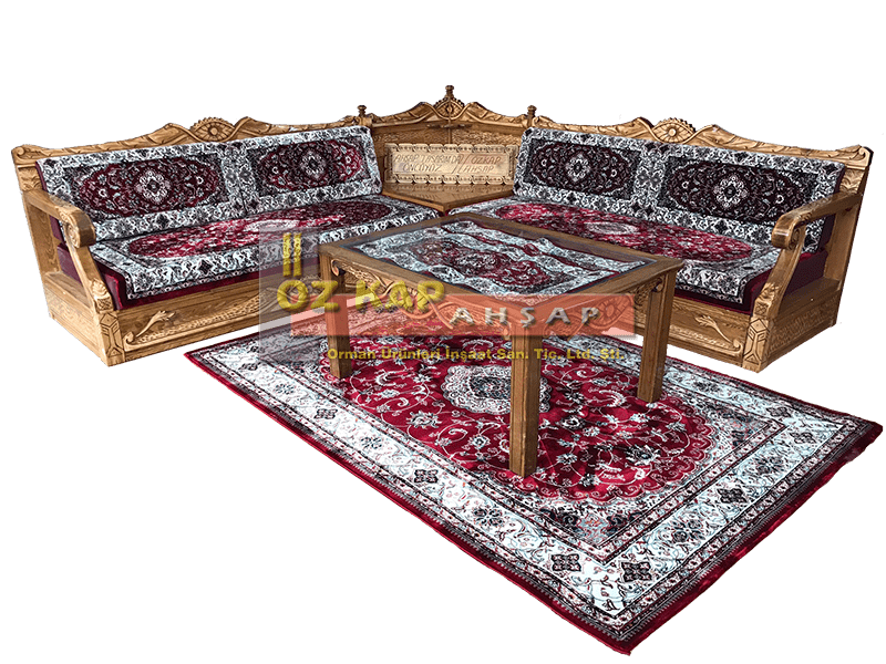 Osmanlı El Oymalı Şark Köşesi Enes Bordo